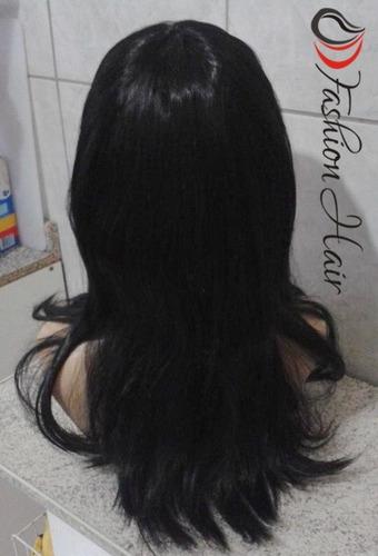 peruca preta lisa/ com franja e ajuste/ 40 cm de comprimento