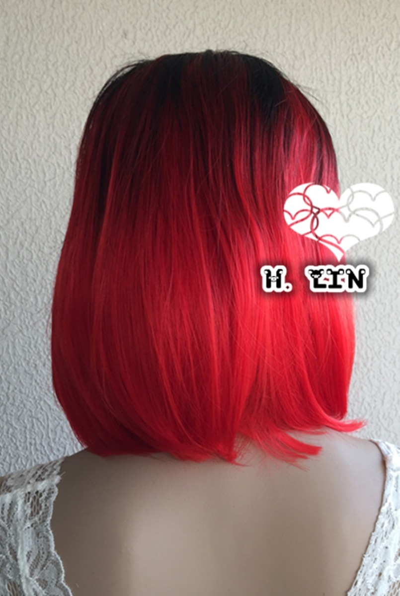 b986f462d peruca preta vermelha ombre hair californiana curta curta. Carregando zoom.