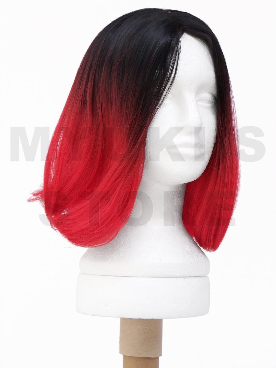 8b8a195e8 peruca sem franja preta c/ vermelho ombré hair chanel média. Carregando zoom .