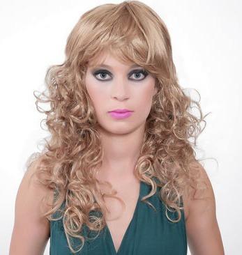 peruca sintética cacheada bege/ 50 cm de comprimento!!!