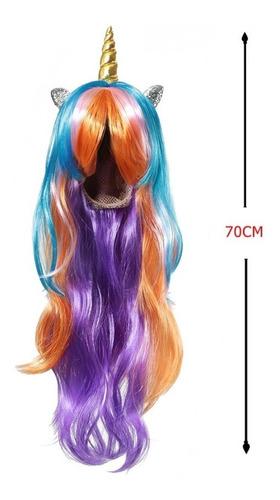 peruca unicónio cabelo longo chifre carnaval festa infantil