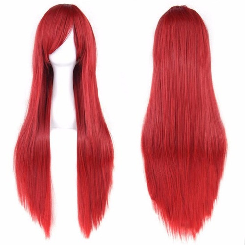 peruca vermelha de 80 cm kanekalon cosplay fantasia anime