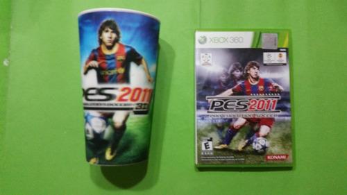 pes 2011, xbox 360, incluye vaso