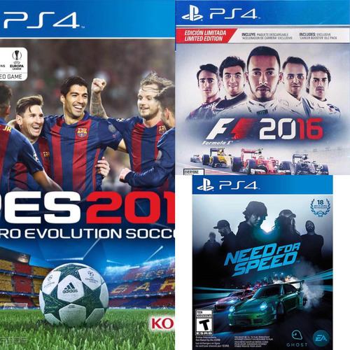 pes 2017 + f1 2016 + need for speed formato digital ps4