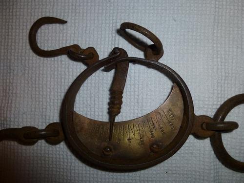 pesa antigua hasta 180 kg. de fierro y bronce doble gancho