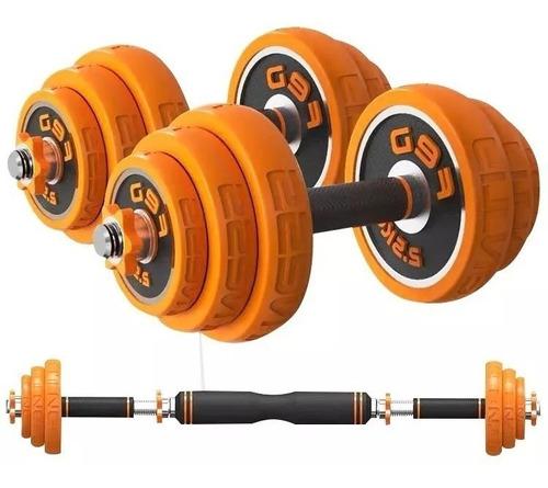 pesas de 20kg cromadas con barra + miton modelo new calidad