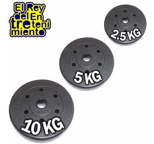 pesas discos revestidos p/ mancuerna barra x kilo - el rey