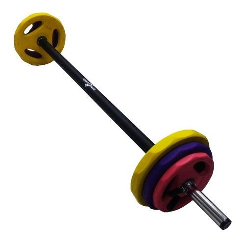 pesas encauchadas set body pump sportfitness kit barra + 20k