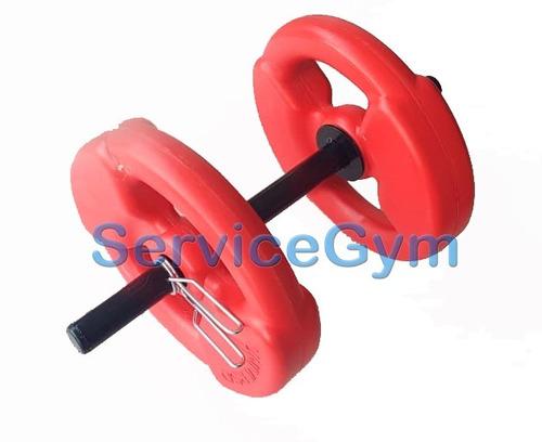 pesas mancuerna con topes + 10 kg discos pvc  servicegym