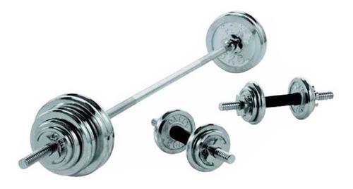 pesas mancuernas y barra 50kg kit gimnasio incluye maletín