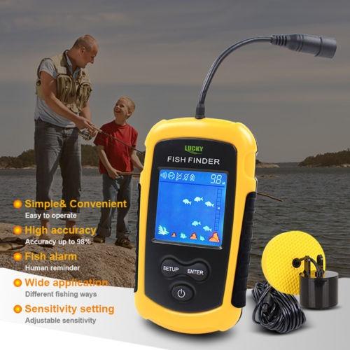 pesca 100m fish finder sonar alarm sensor transducer lcd bac