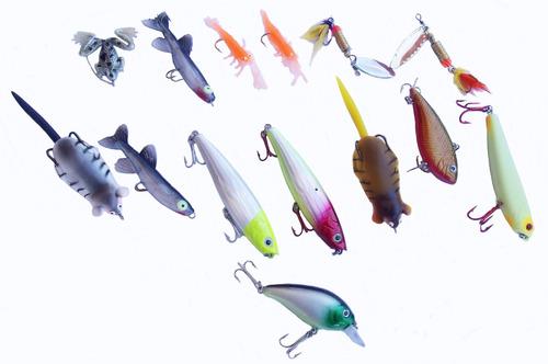 pesca - estojo azul com 12 divisões + 14 iscas variadas