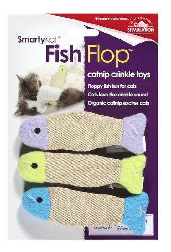 pescado smartykat flop gato catnip arruga de juguetes 3 pac