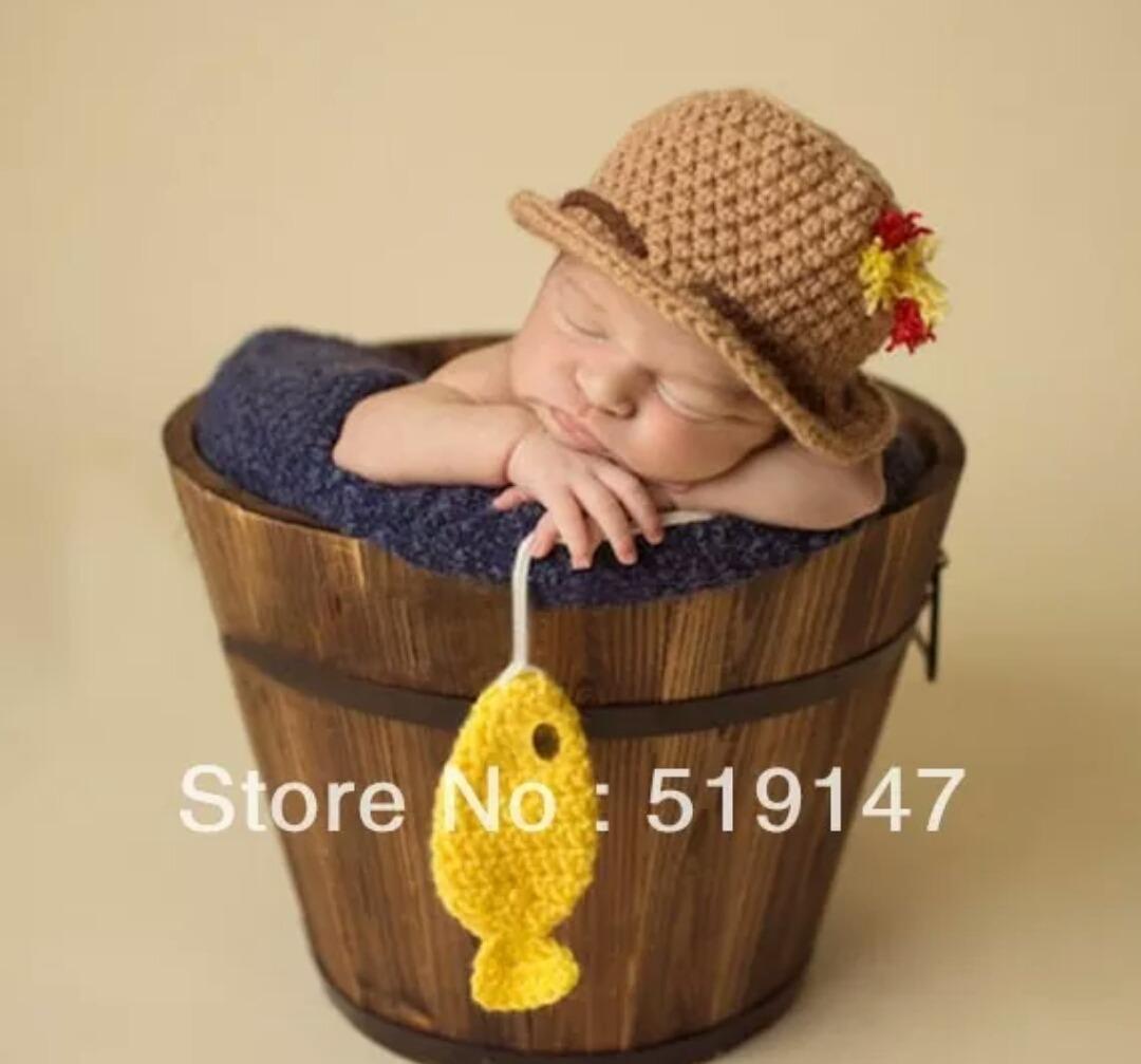 Pescador Newborn ( Touca + Peixinho) - R  45 f5a69448bc0