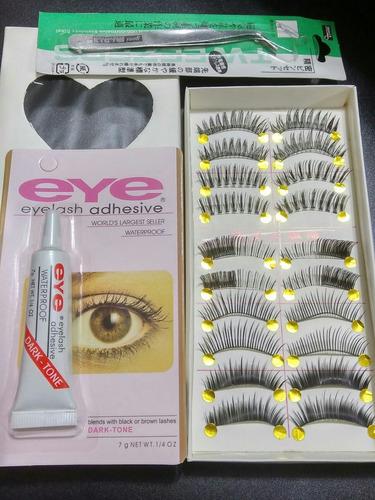 pestañas postizas x10 pares + pegamento eye + pinza aplicado
