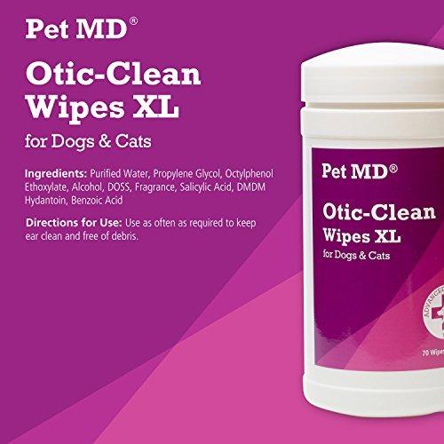 pet md otic limpie los paños para perros y gatos - 70 toall