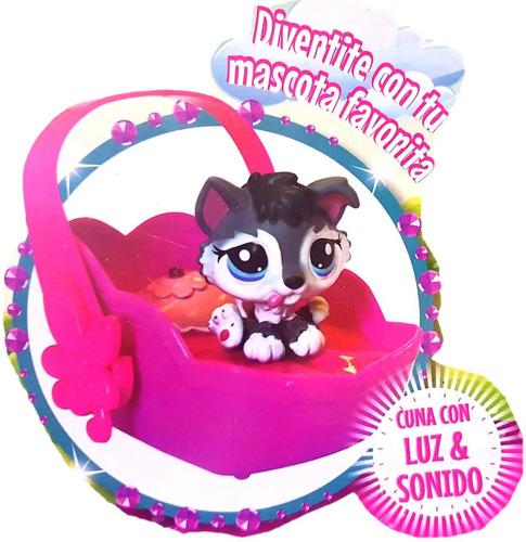 pet shop mi dulce mascota 4 mascotas + cuna con luz y sonido