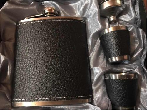 petaca whisky forrada acero inoxidable accesorios 7oz