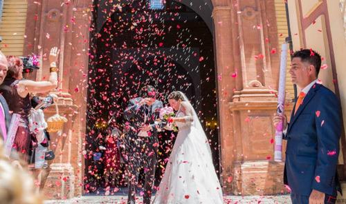petalos de rosas en confety