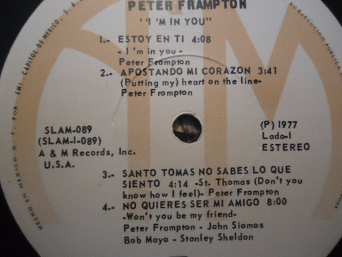 peter frampton / i'm in you vinyl lp acetato