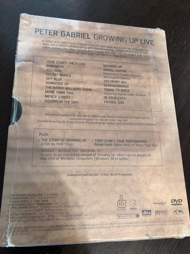 peter gabriel growing up live digipack dvd
