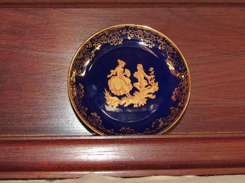 petisqueira limoges azul cobalto e pintura a ouro 24 karat