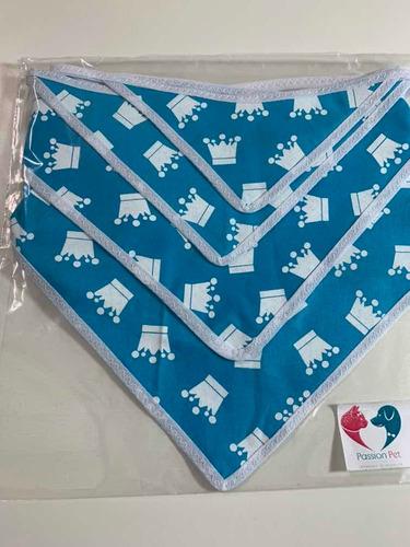 pets bandana coroa azul - 4 unidades