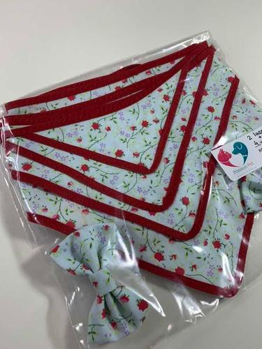 pets bandana floral - 4 unidades + 2 lacinhos