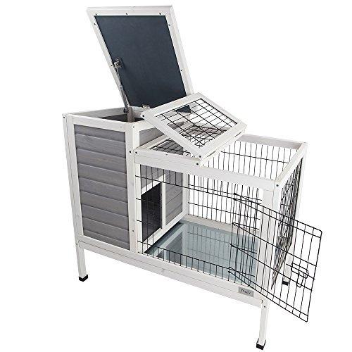 petsfit 36 ¿¿ lx20  wx30  h conejo hutch gris, jaula de c...