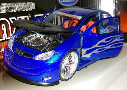 peugeot 206 tuning - escala 1/24 welly maxi-tuner collection
