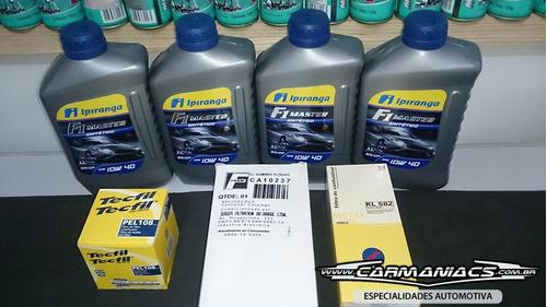 peugeot 307 1.6 c4 óleo 10w 40 100% sintético + kit filtros