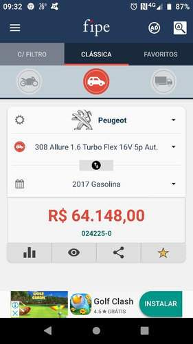 peugeot 308 1.6 thp allure flex aut. 5p 2017