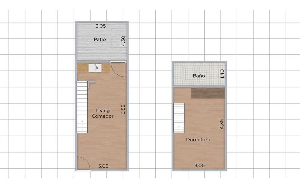 ph 2 amb en duplex con patio y entrada indep.