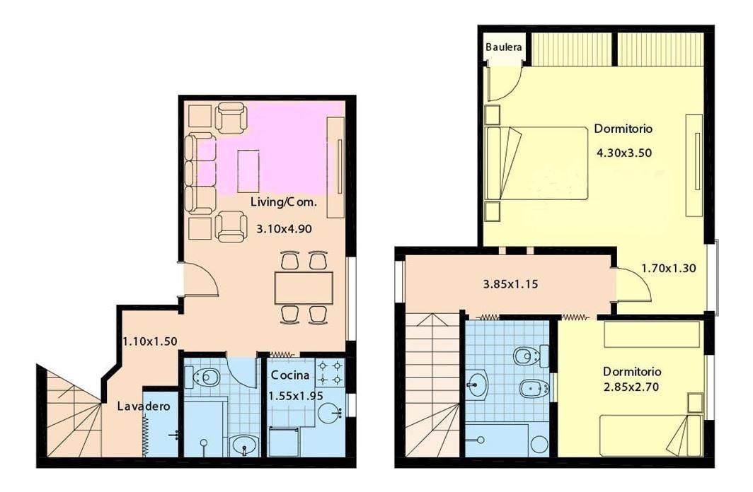 ph 3 ambientes 2 piso por escalera /2 plantas