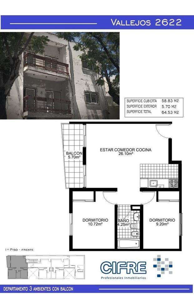 ph a estrenar de 2 ambientes en planta baja lateral con patio.