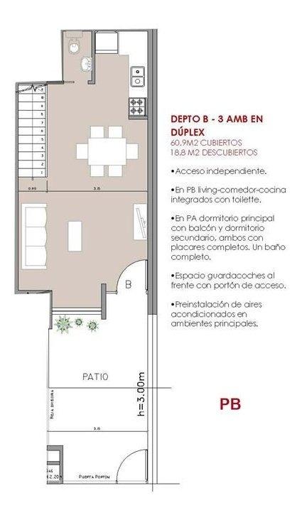 ph duplex 3 amb balcón cochera, a estrenar.
