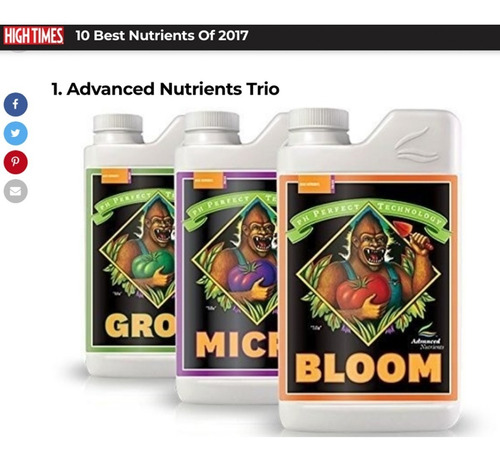 ph perfect® grow, micro, bloom (1l de c/u) advanced nutriens