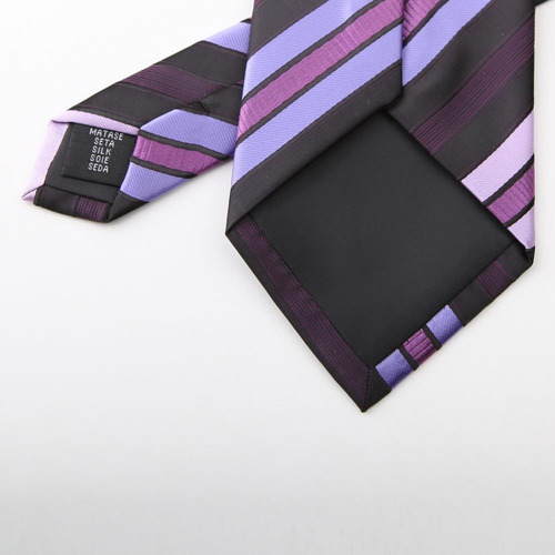 ph1070 purple stripes woven silk necktie pañuelos gemelos ca