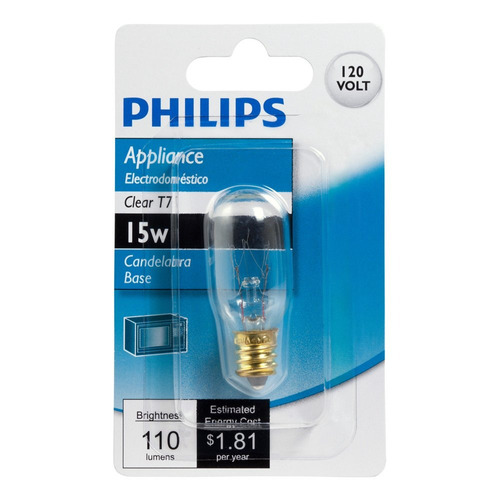 philips 416123 clear appliance 15 watt t7 candelabra base li