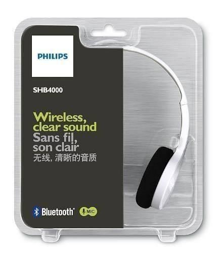 philips audifonos bluetooth shb4000wt blanco