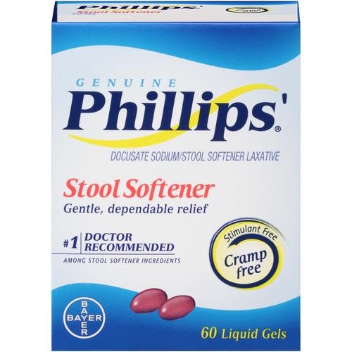 phillips' ablandador de heces líquidas geles, 60 count