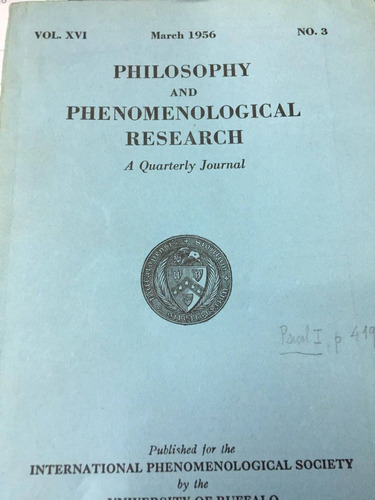 philosophy and phenomenological reserch. vol. xvi march 1956