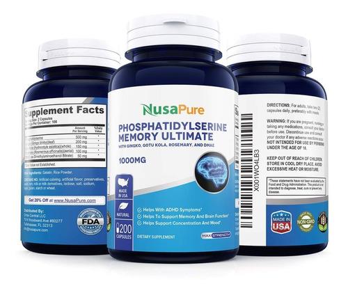 phosphatidylserine fosfatidilserina 1000mg 200 pastillas usa