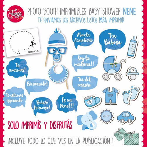 photo booth baby shower nene imprimible props