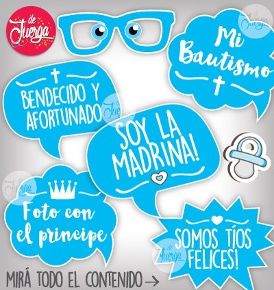 Photo Booth Bautismo Nene Imprimible Frases Y Props