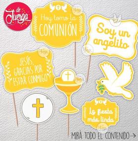 Photo Booth Comunión Imprimible Frases Props Carteles