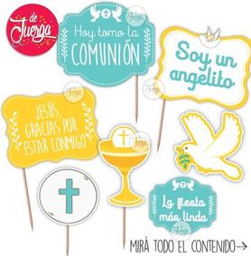 Photo Booth Comunión Imprimible Nene Celeste Props Frases