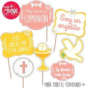 Photo Booth Comunión Imprimible Rosa Nena Props Frases