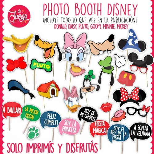 Photo Booth Disney Imprimible Donald Goofy Pluto Daisy Micke - $ 24 ...