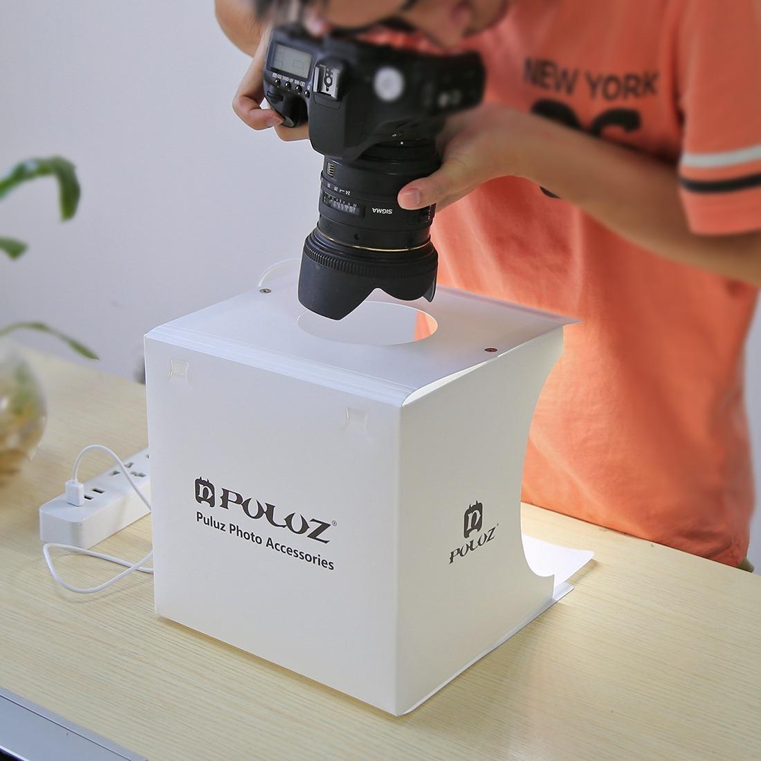 46668e32b2f Photo Box Estúdio Luz 20 Leds Mini Studio Relógio Joias - R  120